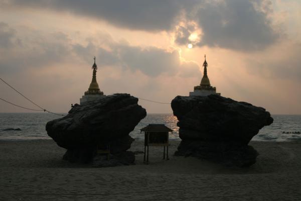 Picture of Ngwe Saung Beach (Myanmar (Burma)): Shrines on Ngwe Saung Beach