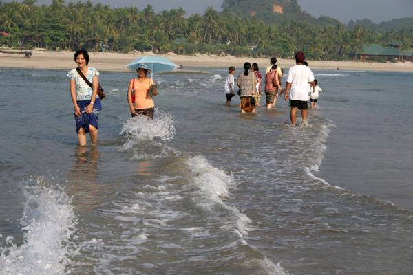 Braving the low tide waves on the way to the rocky island | Ngwe Saung Beach | Myanmar (Burma)