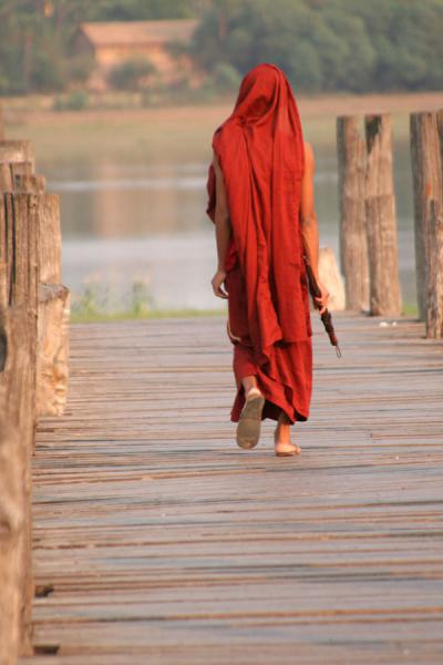 Picture of Monk walking U Bein Bridge, Amarapura