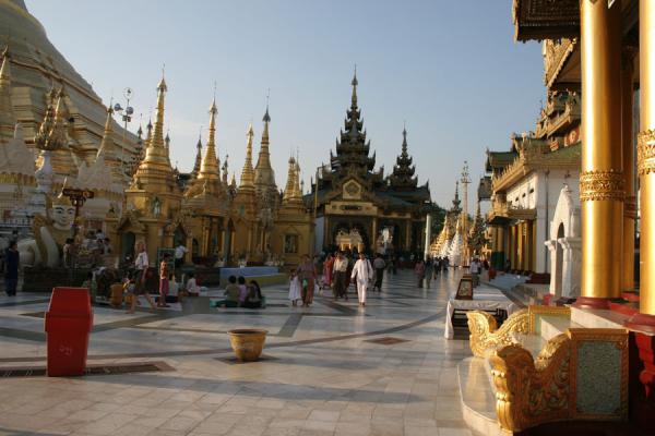 Part of the base of Shwedagon Pagoda before sunset | Shwedagon Pagoda | Myanmar (Burma)