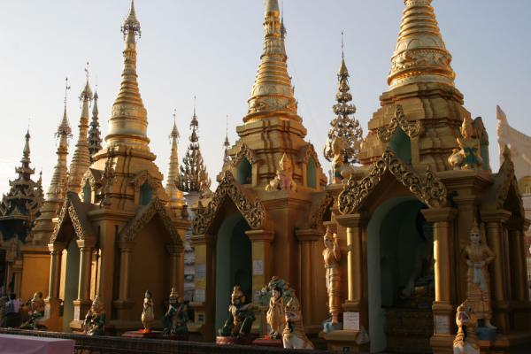 Some of the smaller pavillions at Shwedagon Pagoda | Shwedagon Pagoda | Myanmar (Burma)
