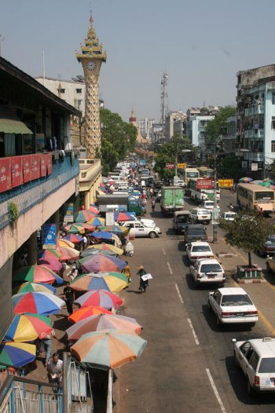 Picture of Streetscene from above: Mahabandoola Road in YangonYangon - Myanmar (Burma)