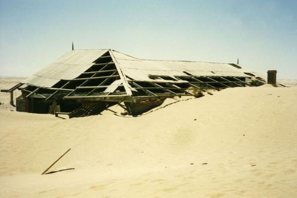 Picture of Kolmanskop (Namibia): Desert sand reaching the roof of one of the buildins of Kolmanskop