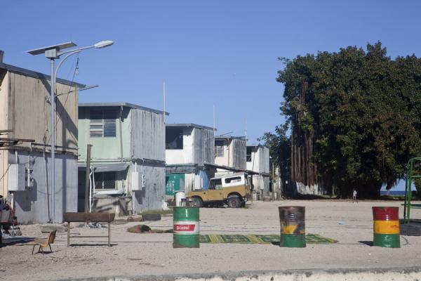 Former barracks for foreign mine workers, now used for housing Nauruans | Nauru Coast | Nauru