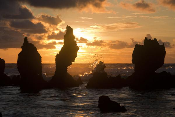 Foto van Sunrise over the coral pinnacles on the east coast of NauruNauru Kust - Nauru