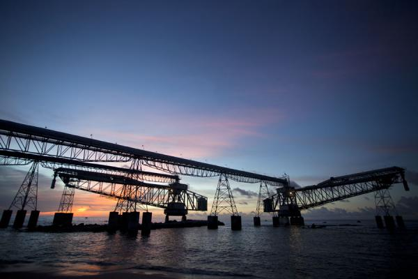 Picture of Nauru Phosphate Cantilevers (Nauru): The cantilevers seen at sunset