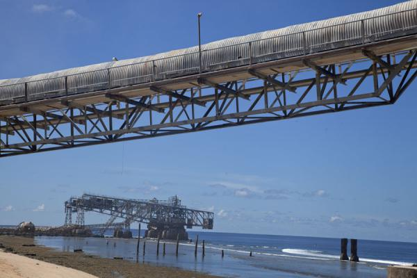 Picture of Nauru Phosphate Cantilevers (Nauru): Daylight view of the cantilevers transporting the phosphate to ships