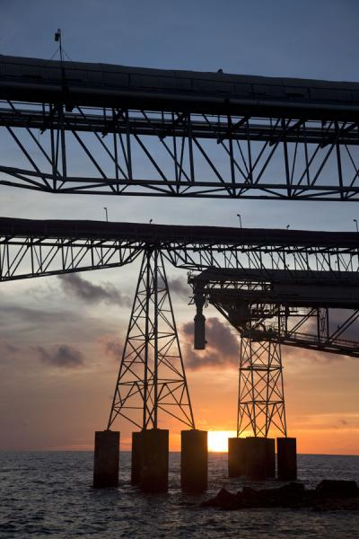 Picture of Nauru Phosphate Cantilevers (Nauru): Cantilevers silhouetted at sunset