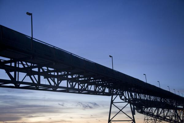 Picture of Nauru Phosphate Cantilevers (Nauru): Silhouette of a cantilever after sunset