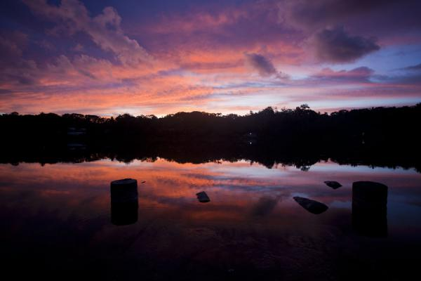 Sunset over Buada Lagoon, in the interior, but not officially part of Topside | Topside landscape | 诺魯