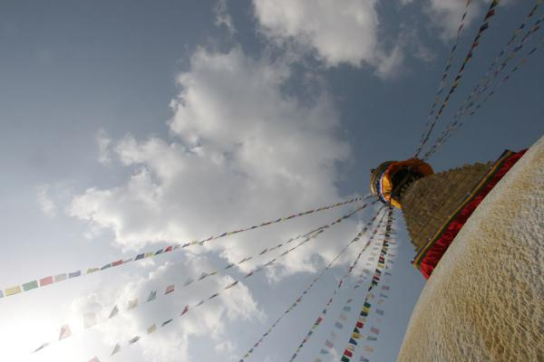 Picture of Boudha Stupa (Nepal): Prayer flags flying from the stupa seen from below
