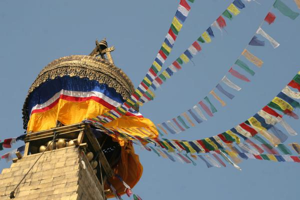 Picture of Boudha Stupa (Nepal): Golden tower, canopy and prayer flags on top of Boudha stupa