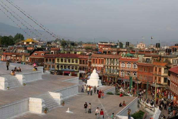 Picture of Boudha Stupa (Nepal): Eastern side of Boudha stupa with kora and surroundings