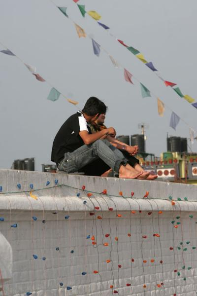 Picture of Boudha Stupa (Nepal): Couple on Boudha stupa