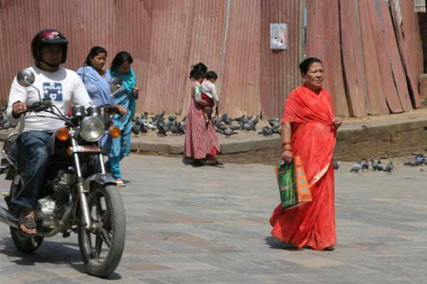 Picture of Motorbikes and pedestrians on Durbar Square