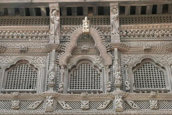 Close-up of wooden windows of the Old Royal Palace | Durbar Square | Nepal