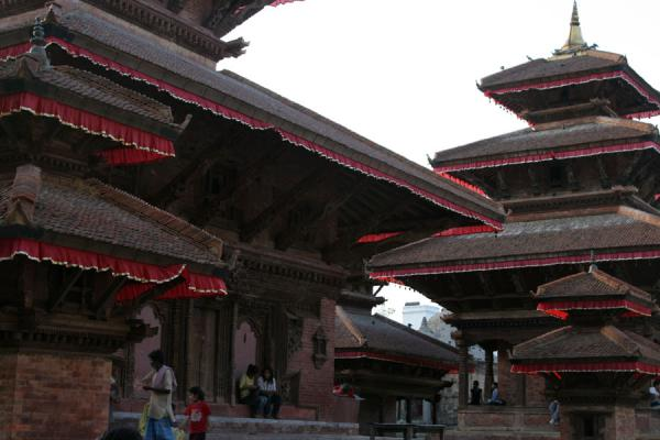 Close-up of temples on Makhan Tole just before sunset | Durbar Square | Nepal