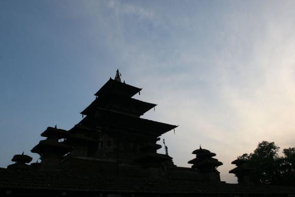 Silhouettes of temples at Makhan Tole at sunset | Durbar Square | Nepal