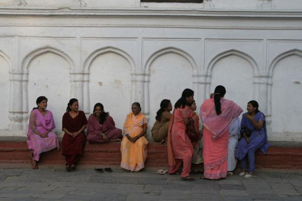Picture of Kathmandu streets (Nepal): Get-together in the streets: women in Kathmandu