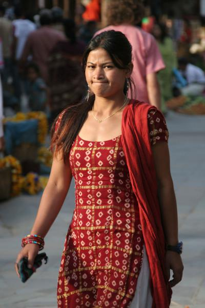 Picture of Nepali people (Nepal): Woman from Nepal with expressive face in Kathmandu