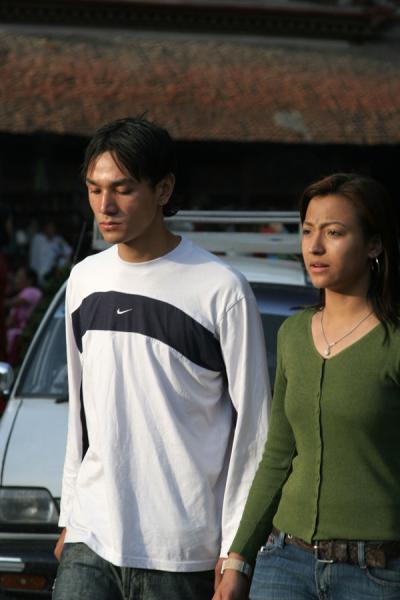 Picture of Nepali people (Nepal): Young Nepali couple having a stroll in Kathmandu
