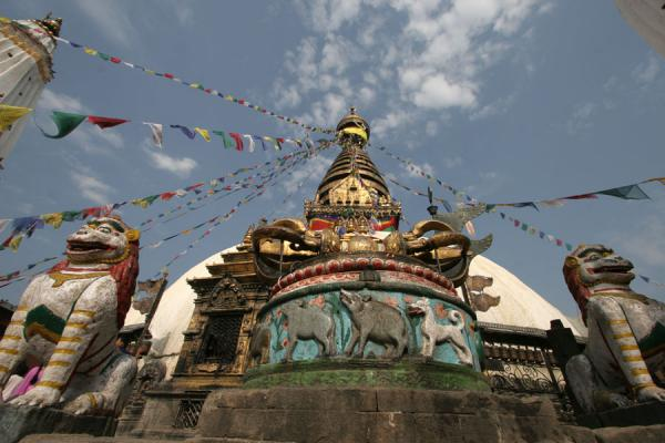 Picture of Stupa, prayer flags, animal statues at Swayambhunath temple