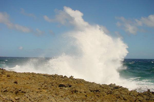 Wave crashing against the rocky coastline of Curacao | Landcape of Curacao | Netherlands Antilles