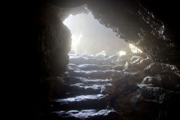 Picture of Stairs leading down into the cave at Boca TablaShete Boka - Netherlands Antilles