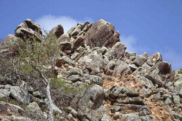 Looking up the rocky surface of the summit of Brandaris mountain | Washington Slagbaai National Park | Antilles Néerlandaises