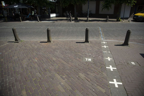 Picture of The border cuts across the Singel in downtown BaarleBaarle - Netherlands