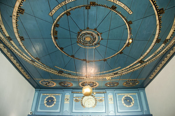The ceiling of the orrery with some of the planets and the sun visible | Eise Eisinga Planetarium | Netherlands