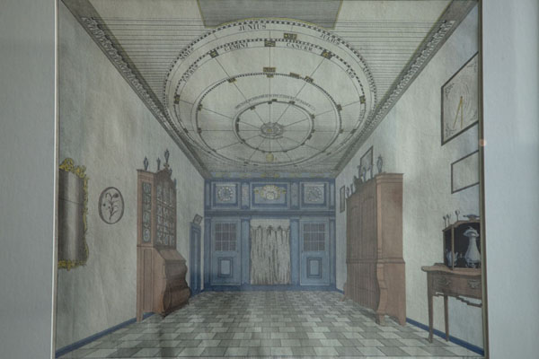 Drawing depicting the room where Eisinga lived with his family, with the orrery in the ceiling | Eise Eisinga Planetarium | Netherlands