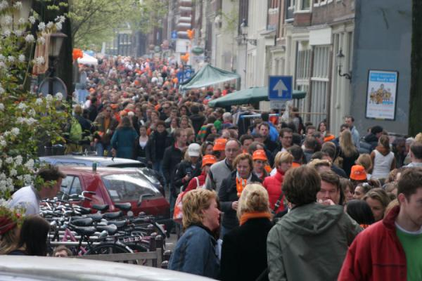 Crowd filling up the streets of Amsterdam during Queen's Day | Queens Day | Netherlands