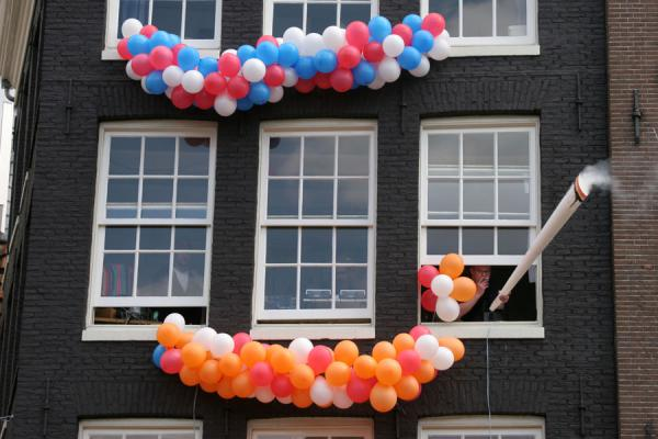 Smoking a mega-joint from a window in Amsterdam  | Queens Day | Netherlands