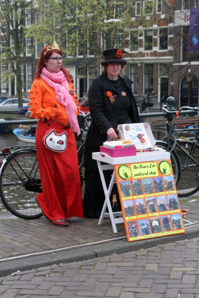 Selling postcards on a bridge on Queen's Day | Queens Day | Netherlands