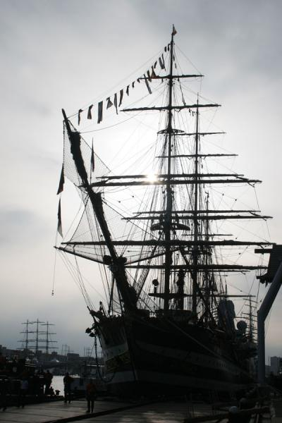 Picture of Amerigo Vespucci: at Sail Amsterdam in the early morning sun