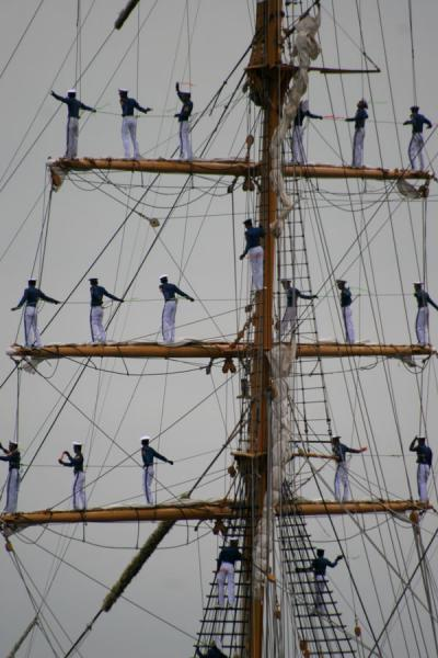 Indonesian sailors in the masts of the Dewaruci | Sail Amsterdam | Netherlands