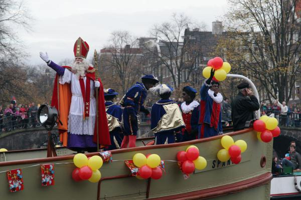 Sinterklaas waving to the crowds from his steamboat | Sinterklaas entry | Netherlands