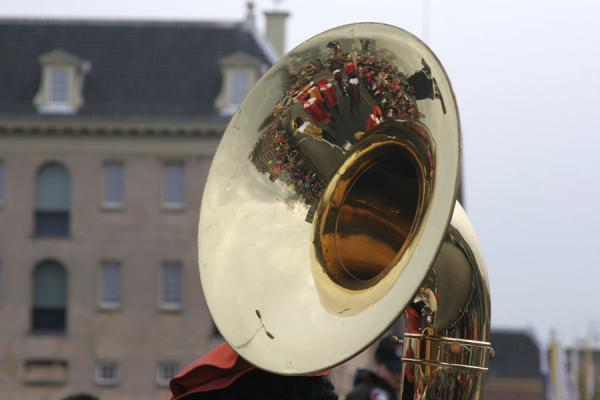 Close-up of an instrument of one of the many bands in the Sinterklaas parade | Sinterklaas entry | Netherlands