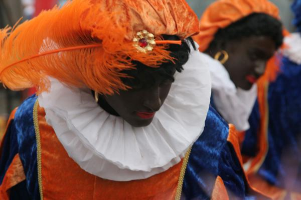 Picture of Colourfully dressed Zwarte Pieten in the Sinterklaas parade