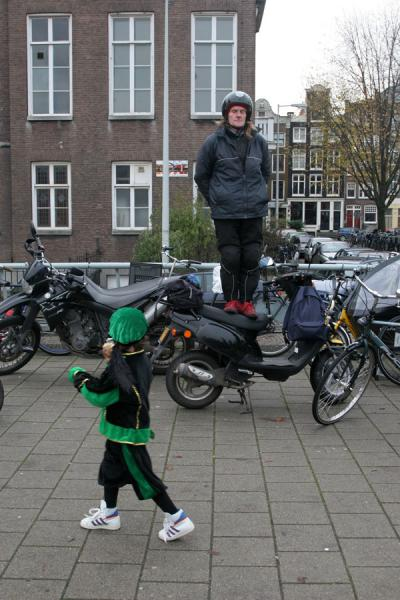 Standing on a scooter for a better view | Sinterklaas entry | Netherlands