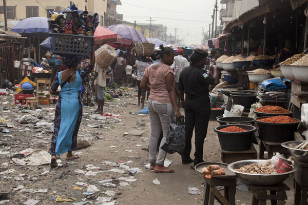 Picture of Oyingbo market with stalls lined up on the street - Nigeria - Africa
