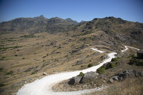 Picture of White marble track running to the top of the hill at Marko's towers - North Macedonia - Europe