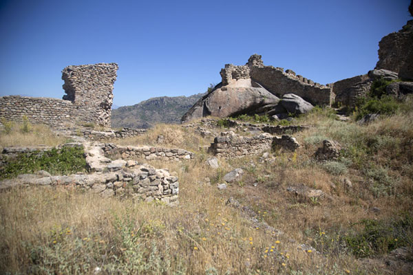 The ruined acropolis on top of the hill of Markovi Kuli | Marko's towers | North Macedonia