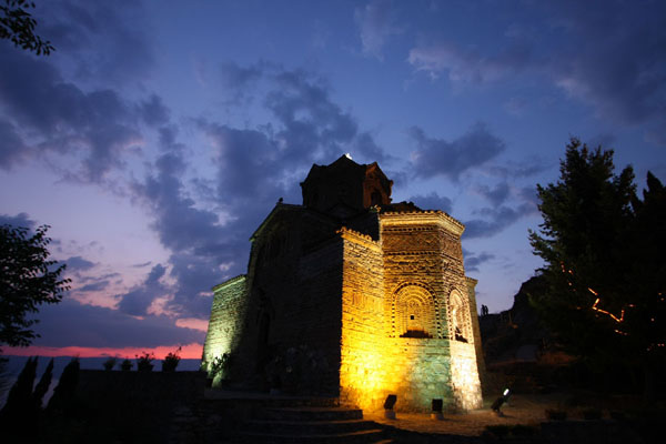 Picture of Sveti Jovan church near Kaneo just after sunsetOhrid - North Macedonia