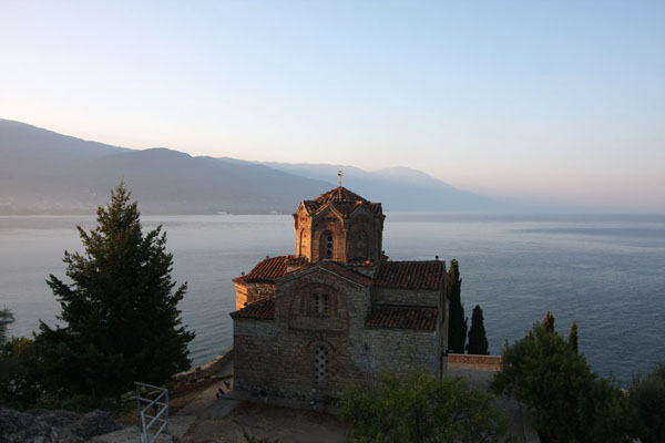 Picture of Sveti Jovan church near Kuneo with tranquil Lake Ohrid in the backgroundOhrid - North Macedonia