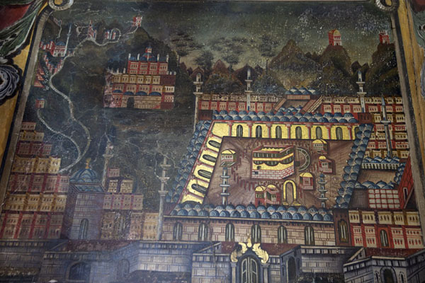 Painting of the Kaaba in Mecca on a wall of the painted mosque of Tetovo | Mezquita pintada  | Macedonia del Norte