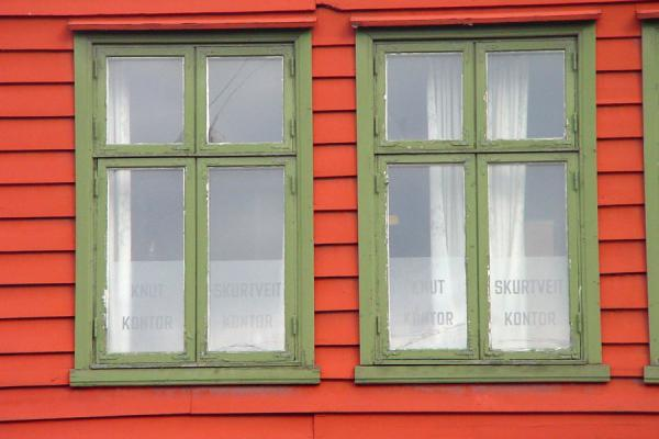 Close-up of two of the wooden windows | Bryggen | Norway
