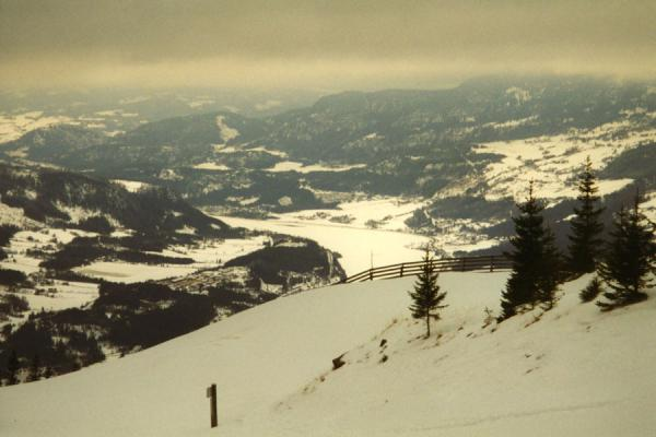 Looking down on a lake from one of the ski tracks | Hafjell Skiing | Norway