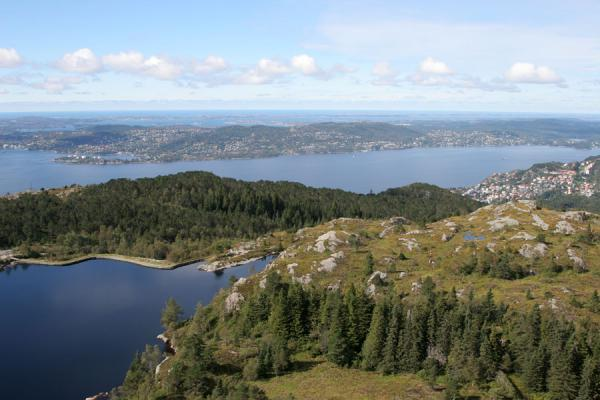 Forest, lakes, fjord and the sea: view over the surroundings of Bergen | Mount Fløyen hiking | Norway